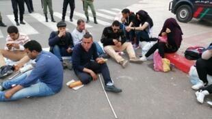 Sit-in des diplômés chomeurs mal-voyants à Marrakech le 30 mars 2019.