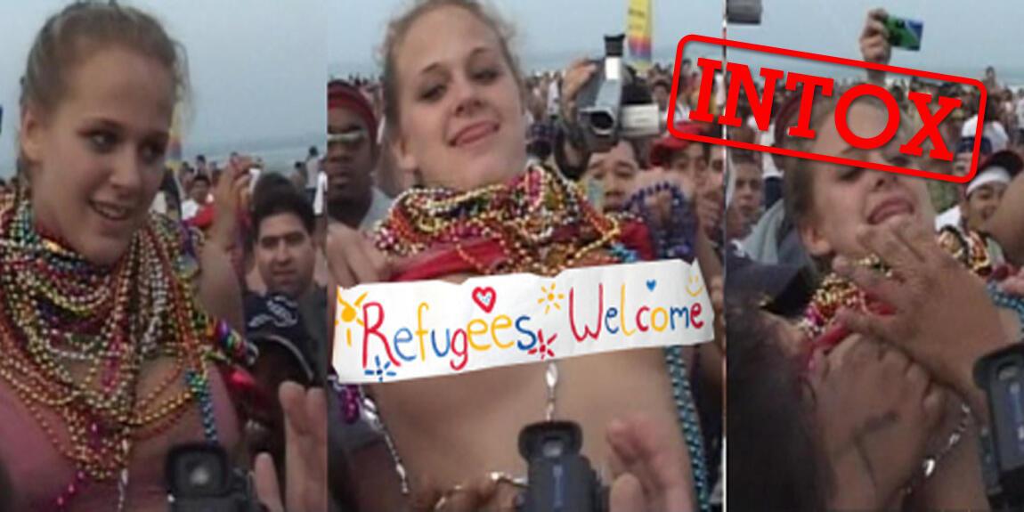 Des pages Facebook anti-migrants affirment que cette jeune fille qui dévoile sa poitrine avec un message pour les migrants a été sexuellement agressée pour ses positions. La scène réelle est bien différente.