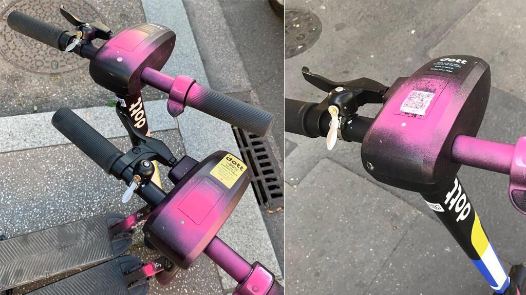 Plusieurs internautes ont partagé leurs photos de trottinettes peintes en rose dans les rues de Lyon.
