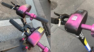 Vandalised electric scooters in Lyon. (Photo: Twitter)