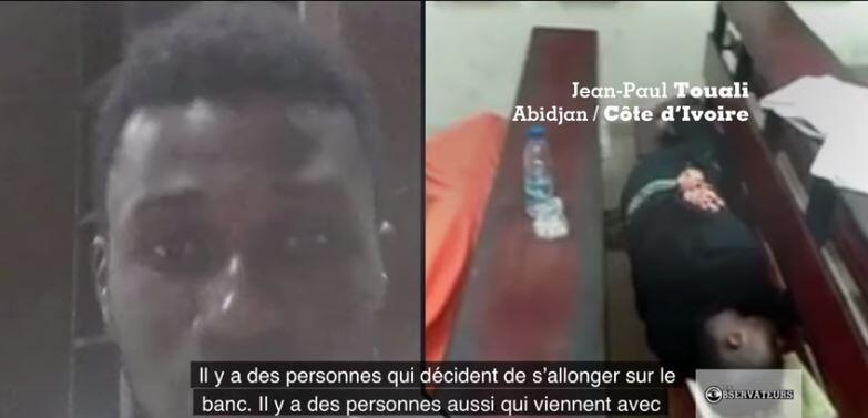 Capture d'écran de notre émission : 'université Nangui Abrogoua d'Abidjan, des étudiants passent la nuit sur les bancs de leur amphithéâtre.