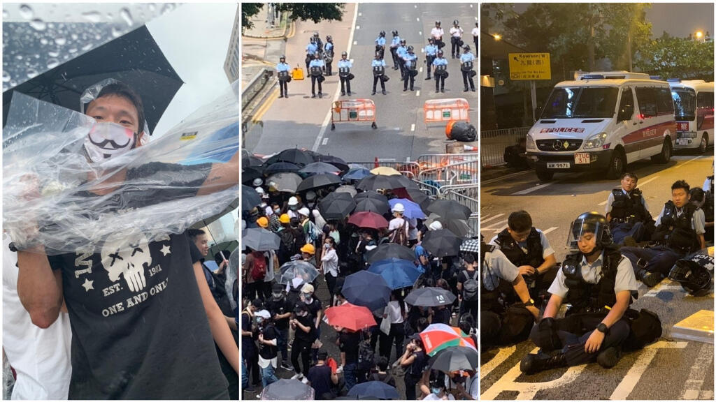 Photos prises par Alex Hofford dans les rues de Hong Kong le 12 juin.