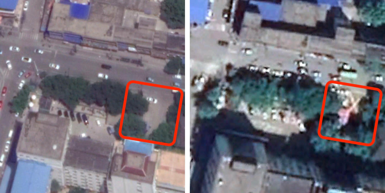 صور من الأقمار الصناعية بدون المحل الخشبي بتاريخ حزيران/ يونيو 2019 (على اليسار) وأخرى بوجود نفس المحل في نيسان/ أبريل 2020.