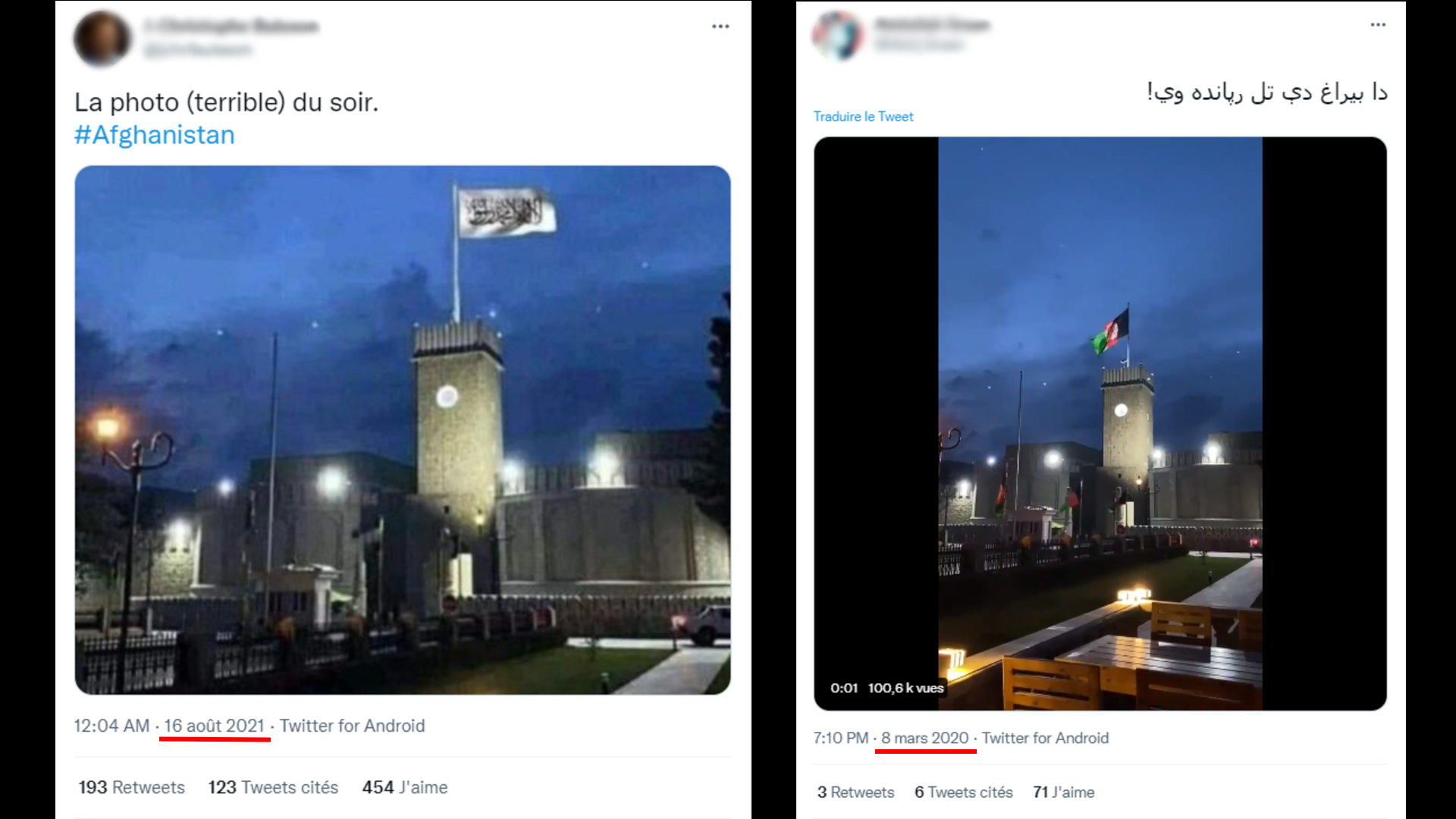 """Left: A screenshot of a Twitter post from August 16, 2021 with the caption, """"(Terrible) photo of the evening"""" above a photoshopped image of the Taliban flag. Right: A Twitter post from March 8, 2020 with the original video, showing the Afghan flag over the presidential palace."""