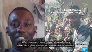 """Capture d'écran de notre émission, Joseph Tsongo, initiateur du projet """"adopte un arbre"""""""