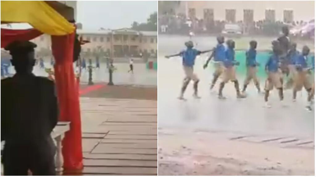 Capture d'écran de la vidéo ci-dessous, tournée le 20 mai à Abong-Mbang (région de l'Est), lors de la fête nationale du Cameroun.