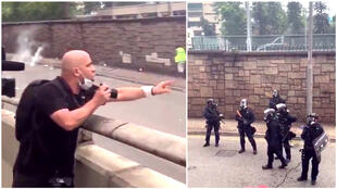 A photojournalist who shouted down police officers during the Hong Kong extradition protests has gone viral.