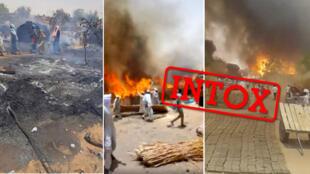 Ces images ont été présentées à tort, sur les réseaux sociaux, comme présentant l'attaque menée lundi 10juin par les Janjawid contre un village au Darfour.