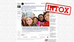 """Capture d'écran d'une des pages Facebook qui relaie cette """"loterie visa"""" pour la Nouvelle-Zélande."""