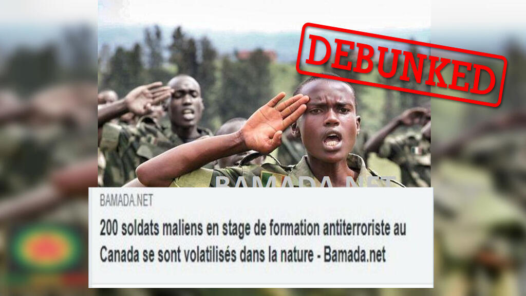 Several different websites shared a false news story about a group of Malian soldiers that had deserted while in Canada for training. The original story was a spoof published on a parody news site.