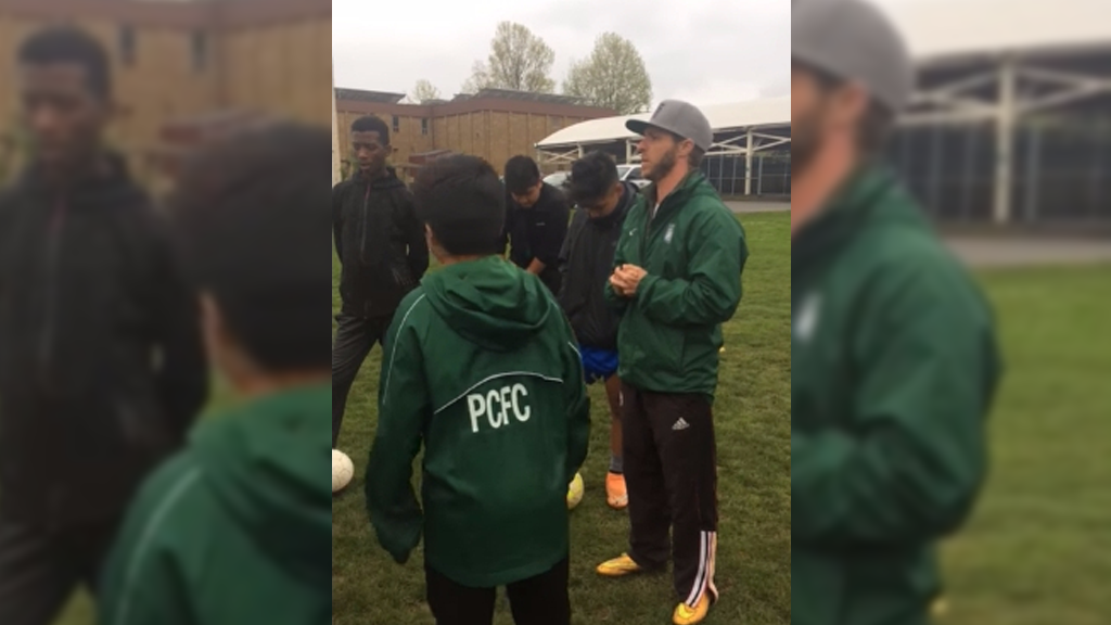 A screen capture from the video posted on Facebook by Portland Community Football Club.