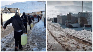 Photos shared on social media show people carrying fuel canisters across the snow-laden camp, and on the right, makeshift buildings in snow.