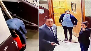 An Egyptian woman rescued a child from a peodophile after seeing the man begin to sexually assault her on CCTV. This incident happened in the middle of the day in a swanky neighbourhood in Cairo. © Social media