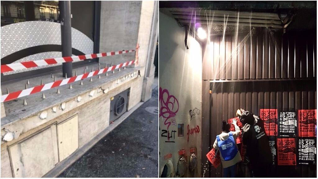 Exemple de dispositif ayant pour objectif d'empêcher les sans-abri de s'installer, photo partagée sous le hashtag #soyonshumains campaign. (Photo: Twitter)