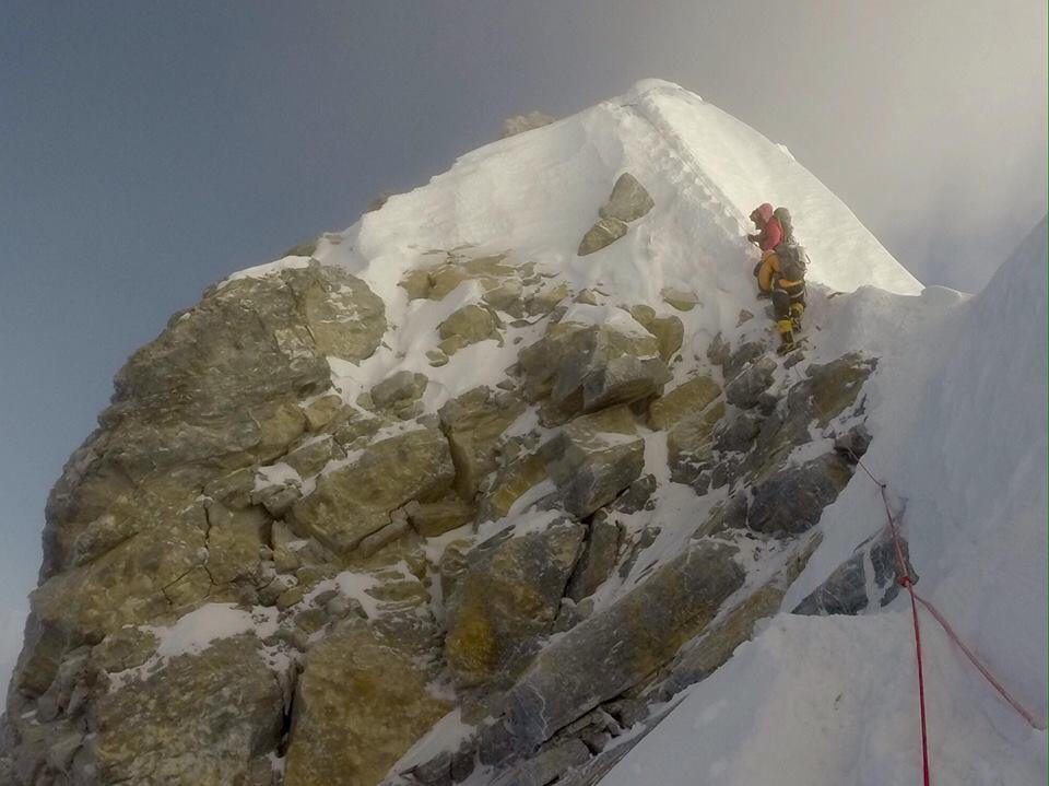 """Climber Time Mosedale posted this photo on Facebook in May 2017, claiming that the iconic Hillary Step was """"no more"""". Climbers have had divergent opinions on whether the rock has changed or not."""