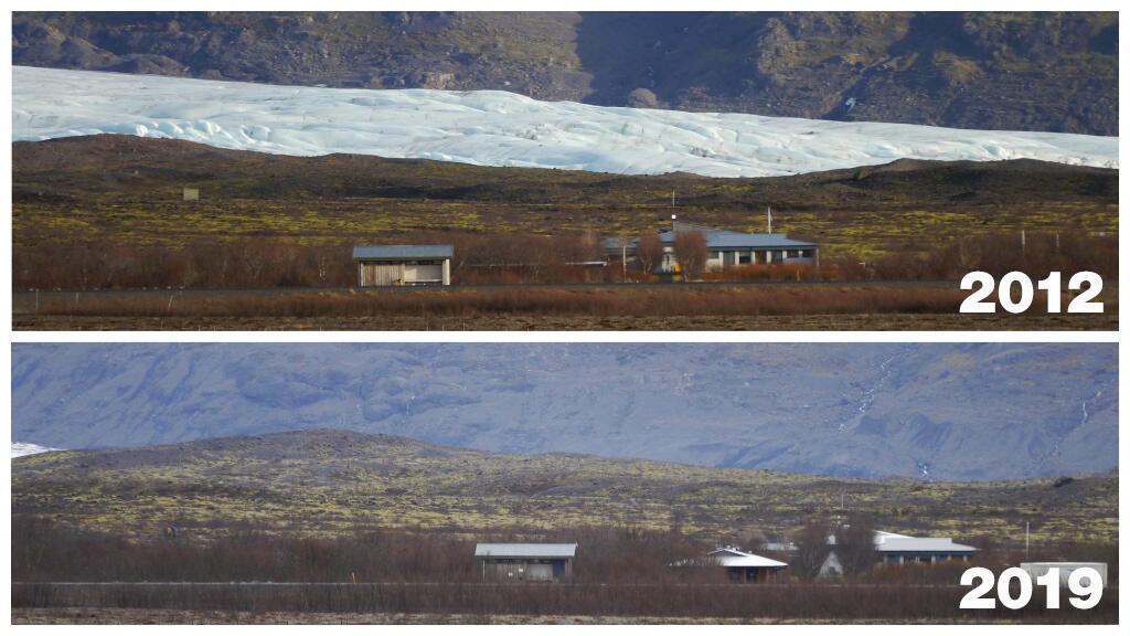 Une partie du glacier de Skaftafell en Islande, en 2012, puis totalement fondue, en 2019. Photo: Gudmundur Ogmundson