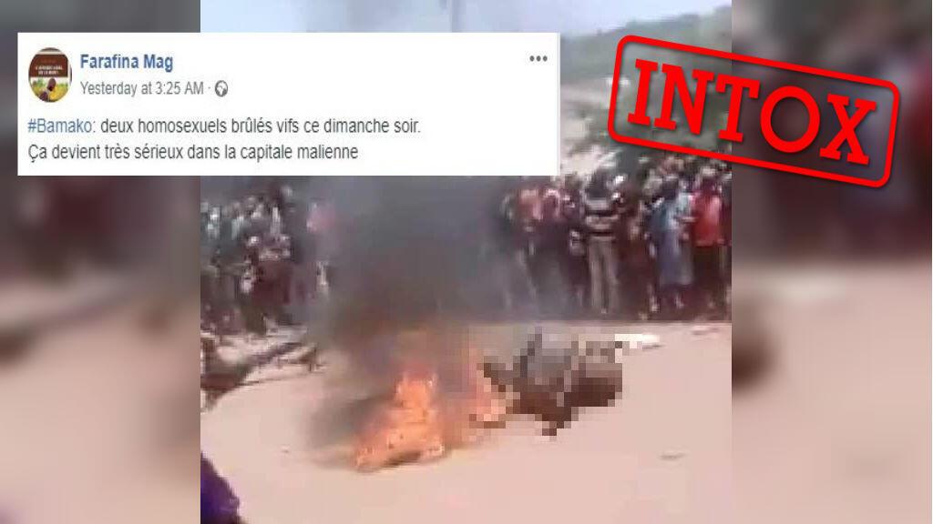 Des images d'hommes brûlés vifs sont présentées comme les meurtres de deux personnes homosexuelles à Bamako le 27 janvier alors que ces images sont plus anciennes et ont déjà été utilisées dans un autre contexte