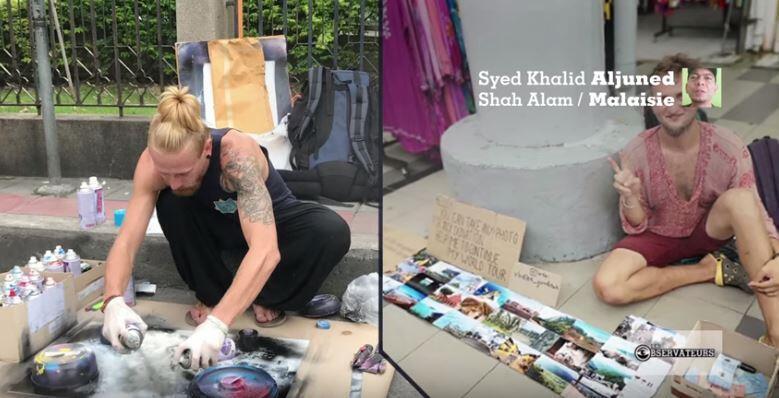 """Des """"begpackers"""" tentant de vendre dessins ou photos pour financer leur voayge en Asie du Sud-Est."""