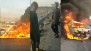 Screengrabs from the video of the accident that occurred in early June at the border between Iran and Afghanistan.