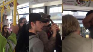 Des adolescents s'en prennent à un passager du tramway de Manchester en l'insultant copieusement. Capture d'écran de la vidéo ci-dessous.