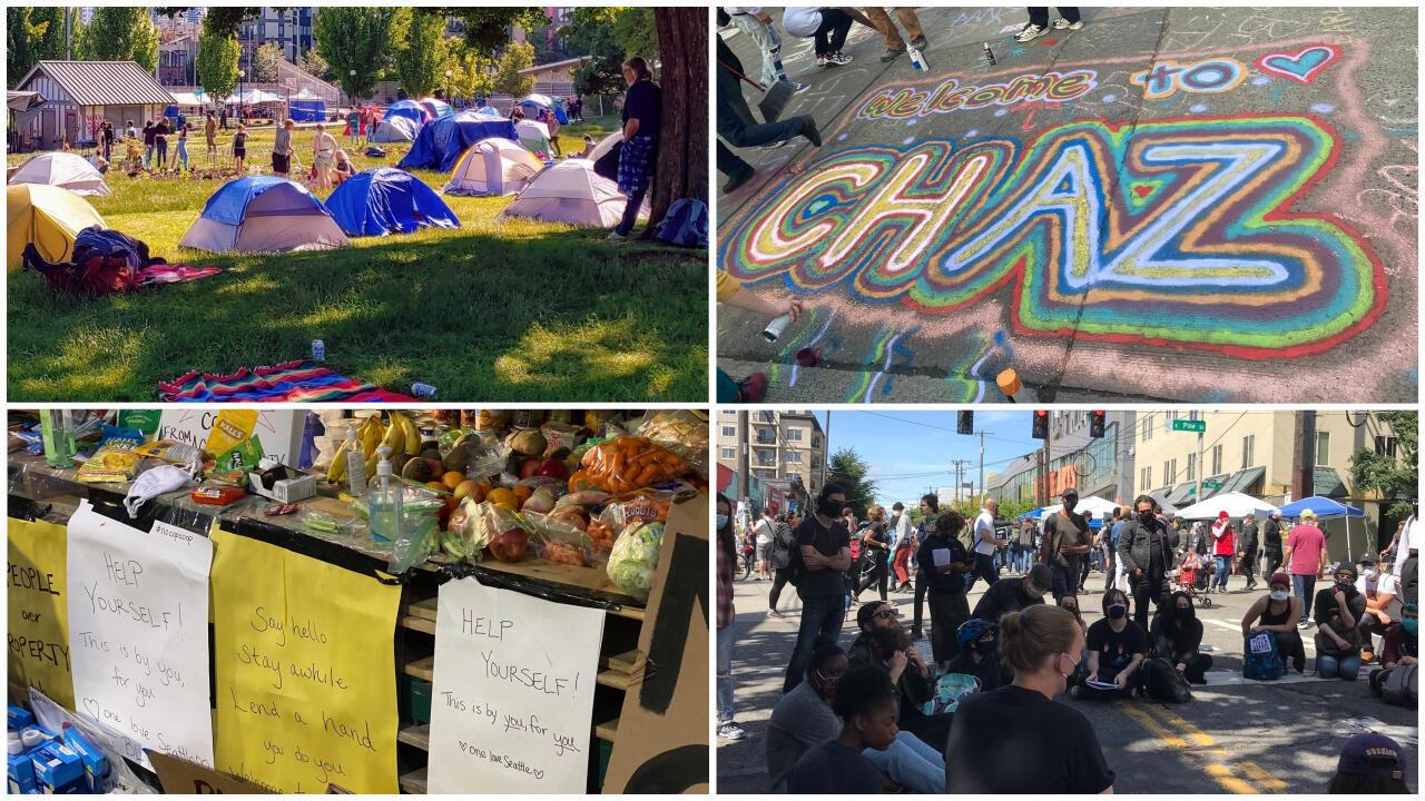 """A Seattle, des manifestants ont créé une """"zone autonome"""" où ils organisent des diffusions de films, des discussions sur le racisme, des veillées en hommage aux Noirs décédés à cause des violences policières. (Photos : réseaux sociaux)"""