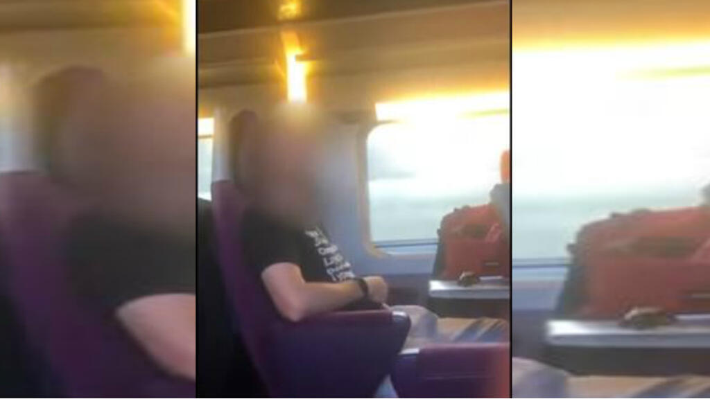 Screenshot of a video of a man masturbating on a train heading for Poitiers, France.