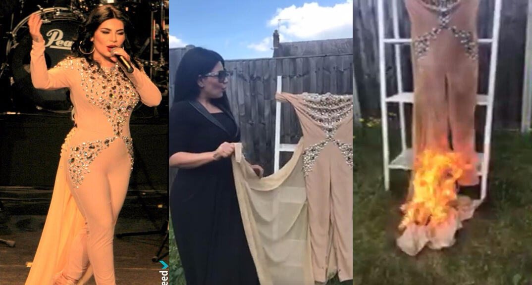 A photo of Sayeed during the Paris concert, wearing the offending outfit; and screen captures from the video where she burns it. (Facebook)