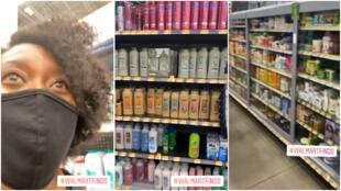 Captures d'écran d'une vidéo prise début juin dans le supermarché Walmart de Montbello, près de Denver. Crédit : Lauren Epps/CBS4
