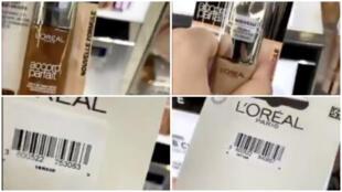 Capture d'écran d'une vidéo Twitter dans laquelle une femme affirme que des fonds de teint pour peaux foncées de marque L'Oréal ont des antivols alors que ceux pour peaux claires n'en auraient pas.