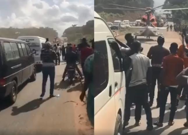 Captures d'écran de la vidéo censée montrer l'évacuation d'un milliardaire sur une route au Nigéria.