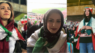 Iranian female football fans attend a World Cup qualifying match between Iran and Cambodia on October 10, 2019, at Tehran's Azadi Stadium. Source: Twitter @hosmey_v, @rozhansteiger, @shohre_naseri.
