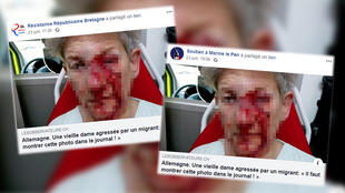 Posts from far-right Facebook groups with the image of a bleeding woman went viral