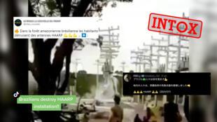 """La vidéo filmée au téléphone portable montre des Brésiliens qui détruisent le système électrique d'une ferme dans l'Etat de Bahia, et non des antennes du système """"HAARP"""", localisées en Alaska et associées à une théorie du complot née dans les années 90."""