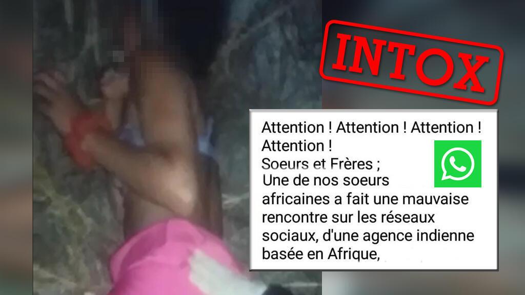 """Une vidéo ultra-violente montrerait selon un message WhatsApp l'assassinat d'une femme africaine ayant fait """"une mauvaise rencontre"""". Ceci est faux, voilà pourquoi."""