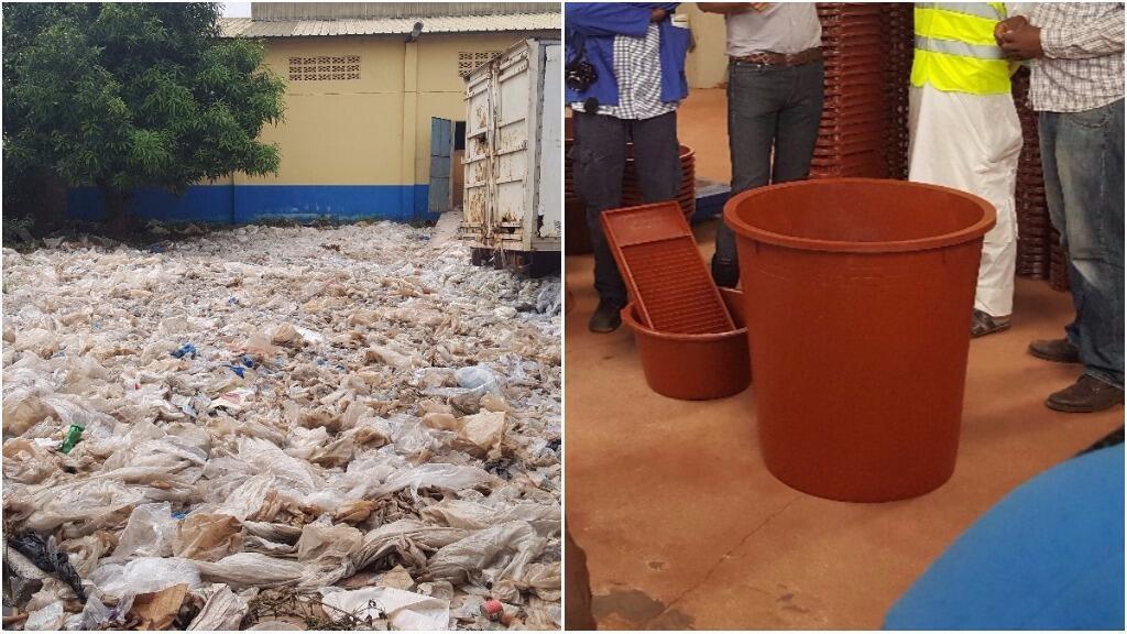 Des sachets plastiques transformés en poubelle, en marche-pied ou en lavoir, c'est le processus de transformation que nous avons observé en Guinée.