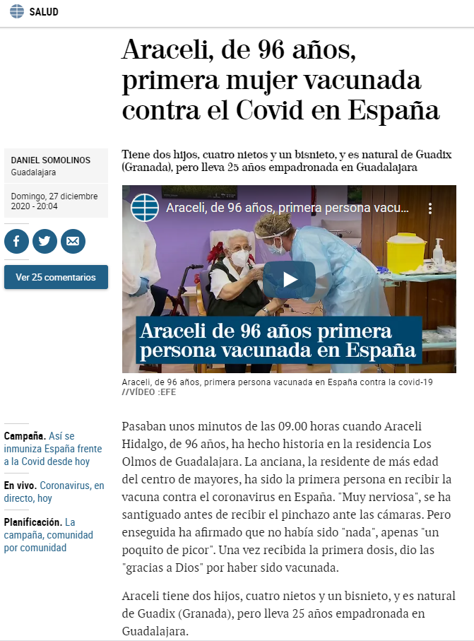 This is a screengrab of the original article published in El Mundo on December 27.