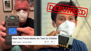 These videos aim to prove that carbon dioxide trapped in face masks when we exhale constitutes a health hazard – but the science says otherwise.