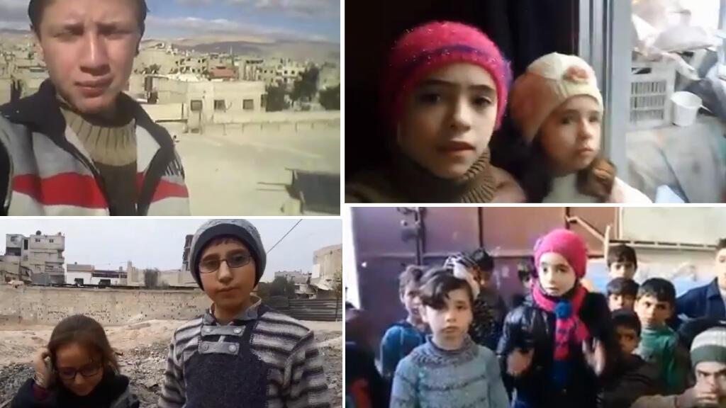 من اليسار إلى أسفل اليمين: صورة لشاشة فيديوهات نشرت عبر تويتر يظهر فيها محمد ونور وآلاء وشام وأختها رفيدة يتحدثون عن القصف في الغوطة الشرقية.