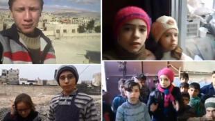 De gauche à droite et de haut en bas : capture d'écran de vidéos postées sur Twitter et où l'on voit Mohammad, les sœurs Noor et Alaa, Sham et sa sœur Rafida, parler des bombardements dans la Ghouta orientale.