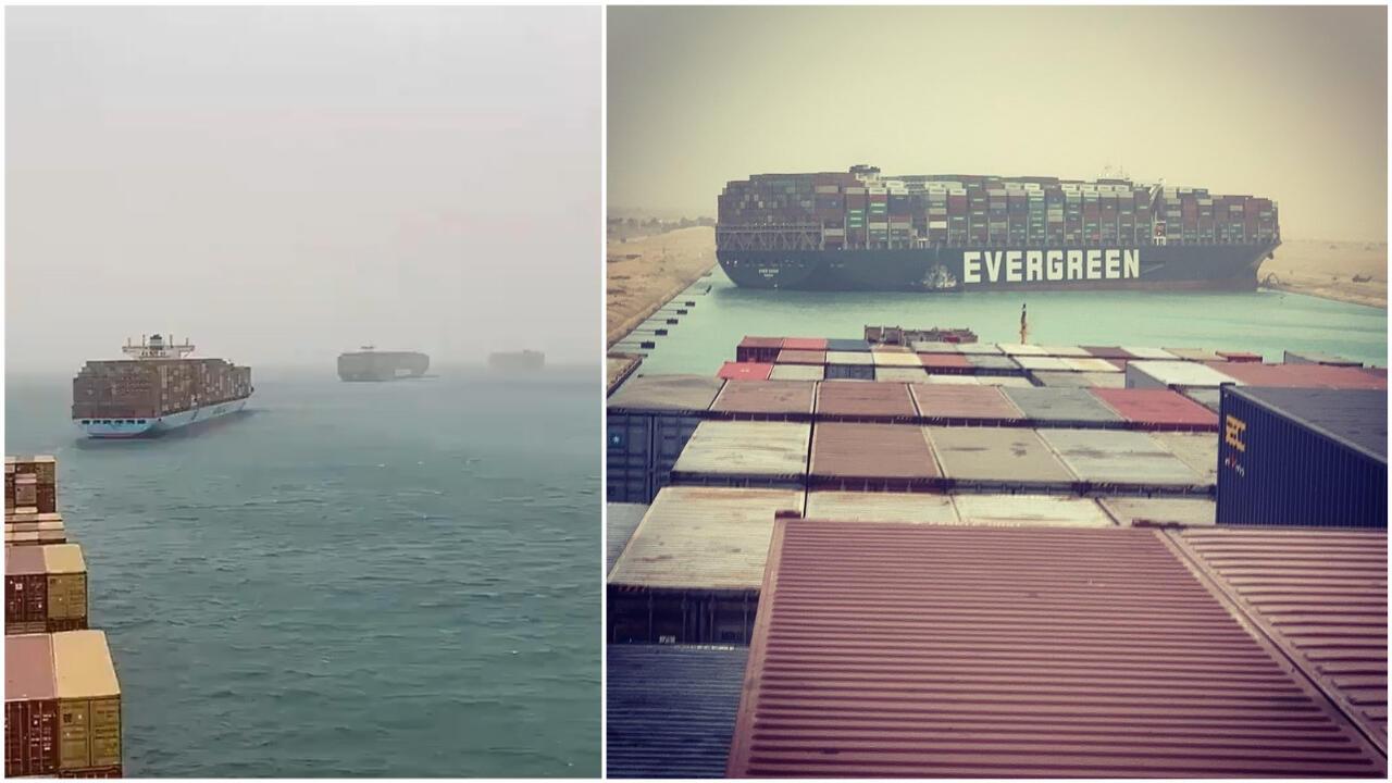 À gauche, capture d'écran d'une vidéo prise dans le canal de Suez et diffusée sur Twitter. À droite, une photo publiée le 23 mars au soir sur Instagram par une personne située sur un navire voisin duMVEver Given.