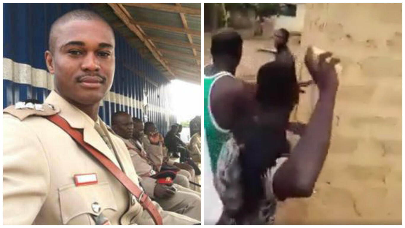 On the left, a photo of Maxwell Adam Mahama in his military uniform. On the right, a screengrab from the video of the lynching.