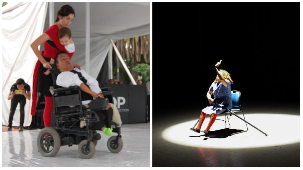Artistic Director Andrea Carmona dances with company dancer Mike in his wheelchair; and on the right a dancer on crutches performs alone on stage.