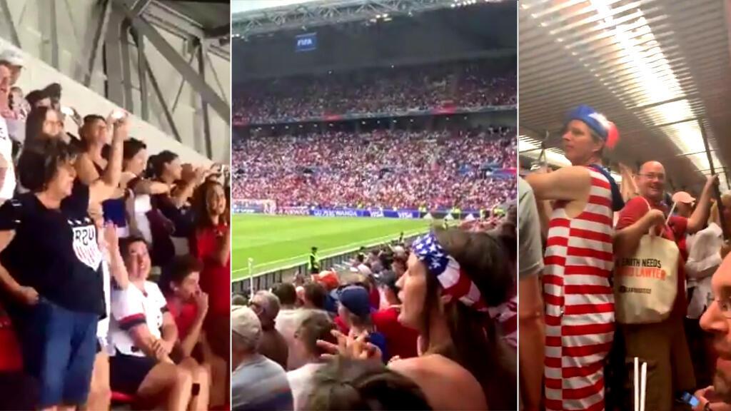 Dans les stades et dans le métro de la ville de Lyon, les supporteurs américains ont fait entendre leurs voix en faveur de l'égalité salariale entre footballeurs et footballeuses.