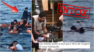 """Des internautes ont jugé que ces images (à gauche : une photo; au milieu et à droite : des captures d'écran d'une vidéo) avaient été manipulées par les médias pour """"apitoyer"""" les gens sur le sort des migrants."""