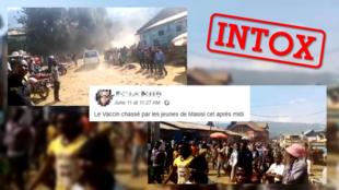 """Des internautes ont prétexté des jeunes de Masisi avaient chassé le """"vaccin"""" de la ville, en référence au départ d'une délégation internationale. C'est faux."""