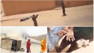 Plusieurs témoins affirment que les Gardes frontières ont tiré à balles réelles. Au centre, l'adolescent mort par balle gise par terre pendant que des gendarmes échangent des insultes avec les manifestants. Captures d'écran.