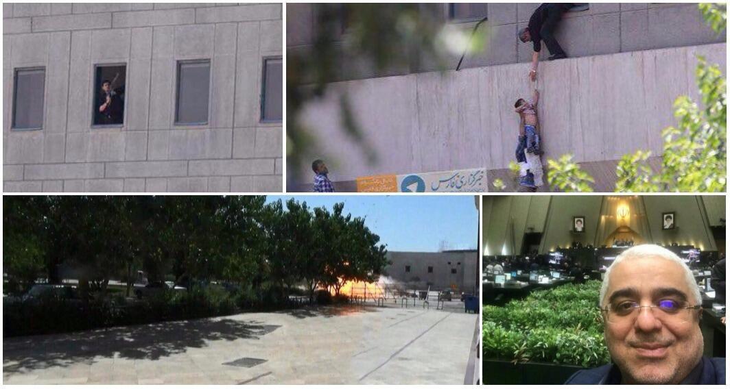 De gauche à droite : membre des forces de sécurité à la fenêtre du Parlement, un enfant évacué, explosion au mausolée de l'imam Khomeiny, un député qui se prend en selfie pendant l'attaque.