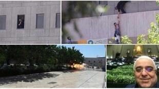 From left to right: a security guard at a window of the building; a child being evacuated; the explosion at the mausoleum of Khomeini; and an MP taking a selfie during the attack.