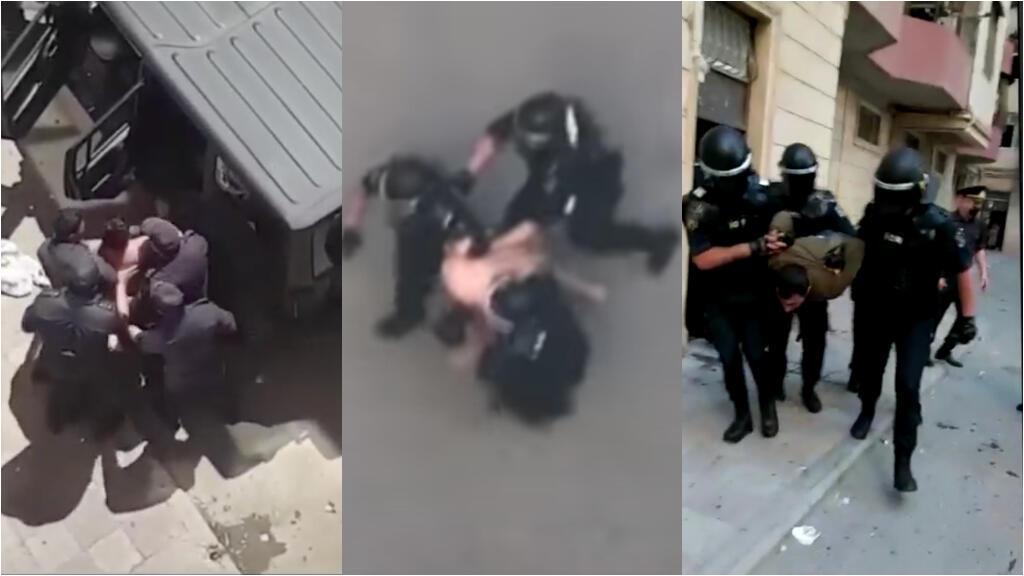 Après avoir arrêté un homme pour non respect du confinement, des policiers ont essuyé une pluie de déchets des habitants, et ont procédé par la suite à de nombreuses arrestations violentes. Captures d'écran Facebook.