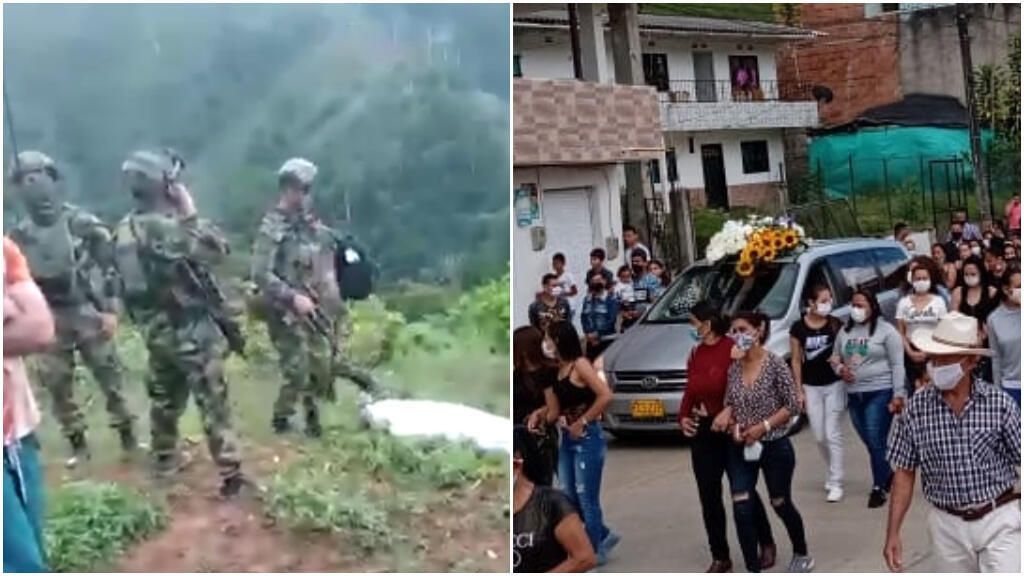Soldiers killed Oriolfo Sánchez on May 20 near Anorí in Antioquia, Colombia. The photo on the left was taken the day he was killed. The image at the right was taken the day he was buried.